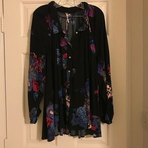 Free People black floral tunic